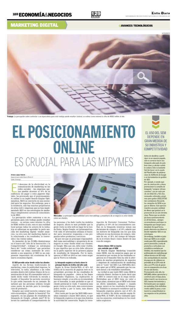 El Posicionamiento Online es crucial para las MiPyMES