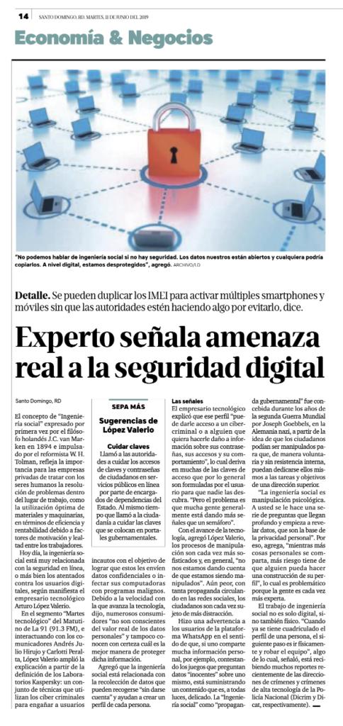 Experto señala amenaza real a la seguridad digital. Ingeniería Social.