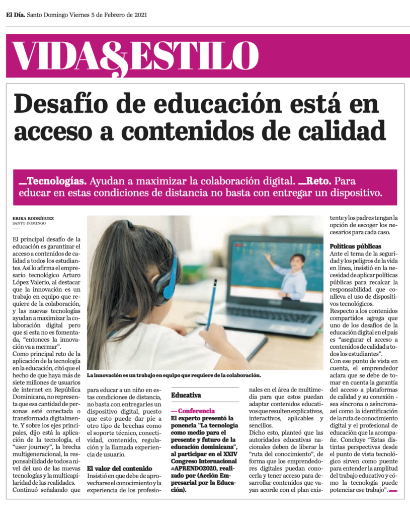 Desafío de educación está en acceso a contenidos de calidad